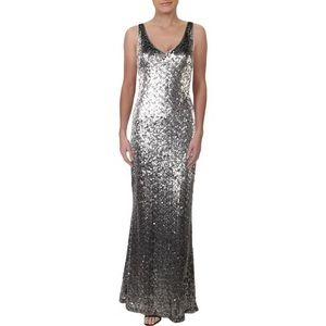 L RALPH LAUREN LEMONY SEQUIN V-NECK EVENING DRESS